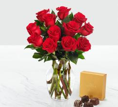 Valentine's Red 1 Dozen Long Stem Roses with Chocolate